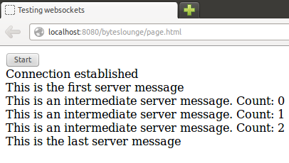 Websocket - Messages exchanged