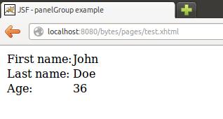 JSF panelGrid example