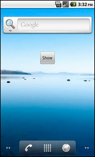 Android widget - show button