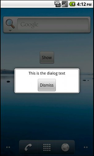 Modal Dialog Popup From Android Widget Example